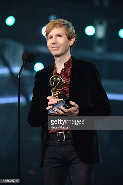 Beck accepts award onstage during The 57th Annual GRAMMY Awards at the STAPLES Center on February 8 2015 in Los Angeles California