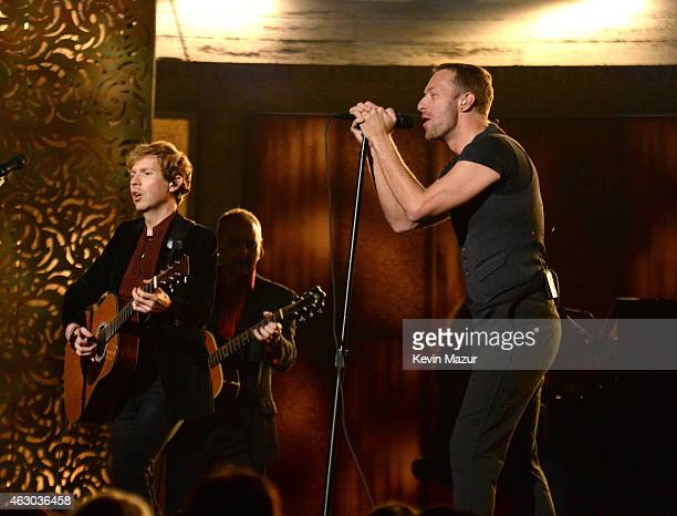 Beck and Chris Martin perform onstage during The 57th Annual GRAMMY Awards at the STAPLES Center on February 8 2015 in Los Angeles California