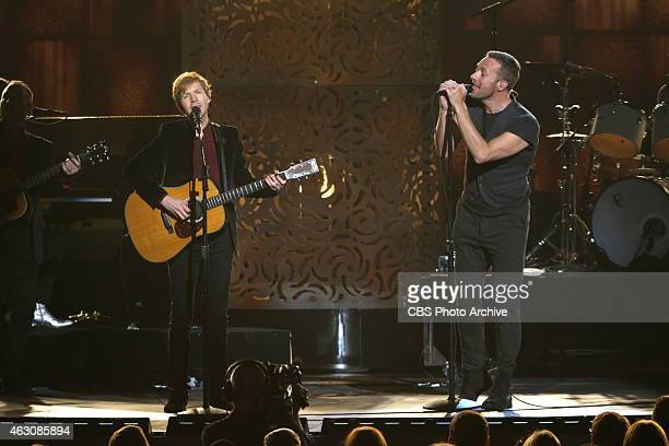 Beck Chris Martin perform during The 57th Annual Grammy Awards Sunday Feb 8 2015 at STAPLES Center in Los Angeles and broadcast on the CBS Television...