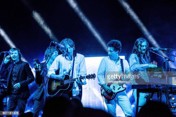 Beck Jason Flaukner Nicolas Godin Justin MeldalJohnsen perform with Air at The Greek Theatre on June 25 2017 in Los Angeles California