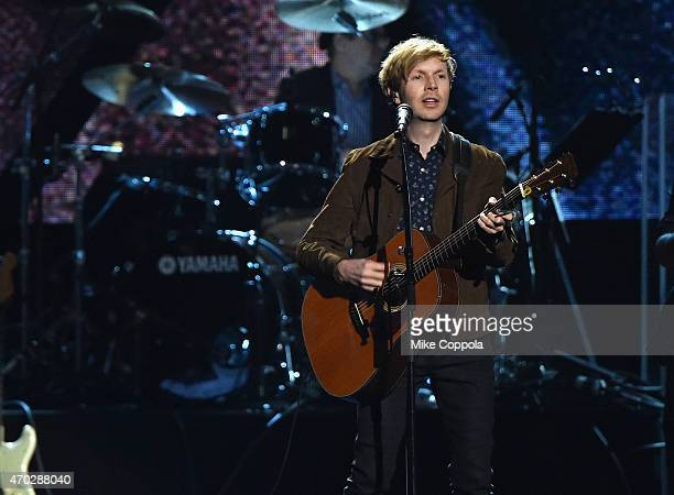 Beck performs a song by Inductee Lou Reed onstage during the 30th Annual Rock And Roll Hall Of Fame Induction Ceremony at Public Hall on April 18...