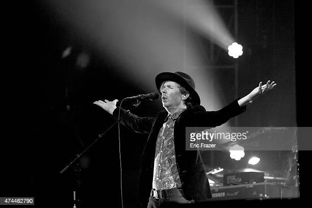 Beck performs during Day 1 of the Boston Calling Music Festival at Boston City Hall Plaza on May 22 2015 in Boston Massachusetts