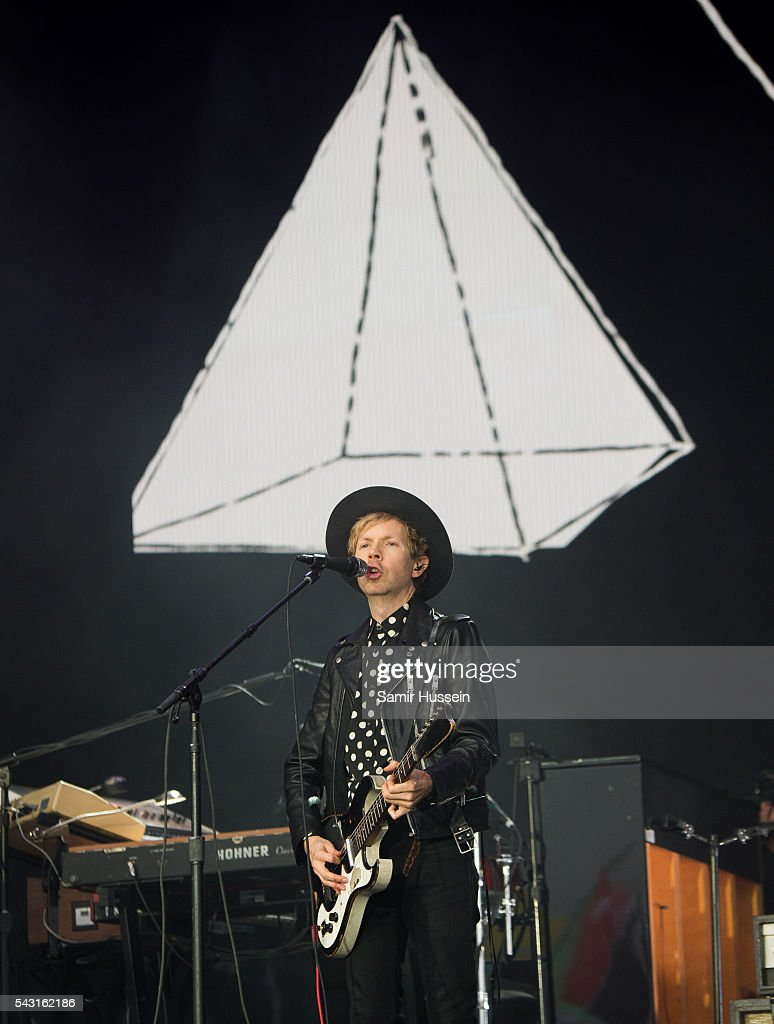 Beck performs on the Pyramid Stage at Glastonbury Festival 2016 at Worthy Farm, Pilton on June 26, 2016 in Glastonbury, England.