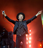 Beck performs on the Pyramid Stage at Glastonbury Festival 2016 at Worthy Farm Pilton on June 26 2016 in Glastonbury England