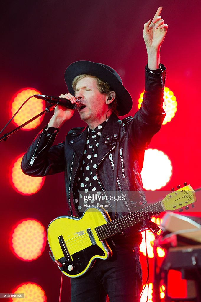 Beck performs on The Pyramid Stage, Glastonbury Festival 2016 at Worthy Farm, Pilton on June 26, 2016 in Glastonbury, England.