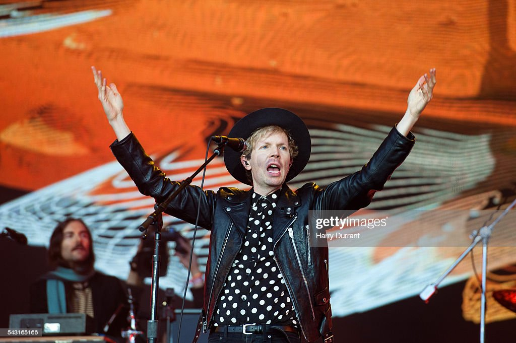 Beck performs on The Pyramid Stage, Glastonbury Festival 2016 at Worthy Farm, Pilton on June 26, 2016 in Glastonbury, England.