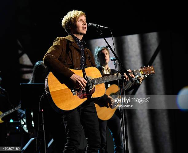 Beck performs onstage during the 30th Annual Rock And Roll Hall Of Fame Induction Ceremony at Public Hall on April 18 2015 in Cleveland Ohio