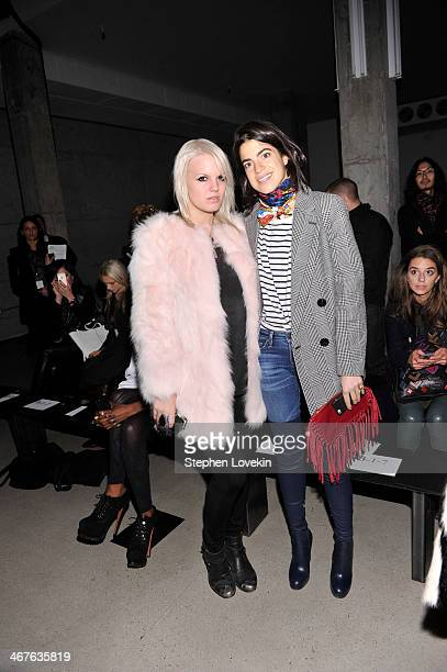 Becka Diamond and fashion blogger Leandra Medine attend the Sally LaPointe fashion show during MercedesBenz Fashion Week Fall 2014 at Skylight Modern...