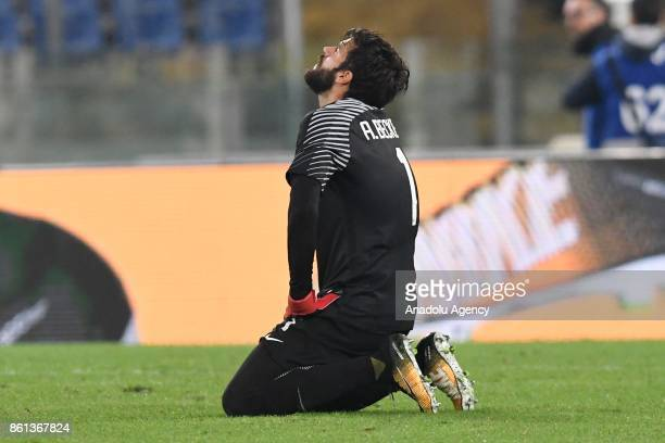 Becker Allison of AS Roma reacts during the Serie A soccer match between AS Roma and SSC Napoli at Stadio Olimpico on October 14 2017 in Rome Italy