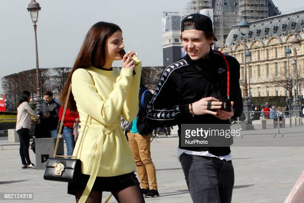 Beckham Brooklyn and Sonia Ben Ammar visit the Musee du Louvre in Paris on march 11th 2017