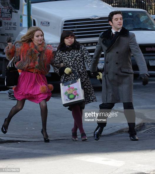 Becki Newton America Ferrera and Michael Urie sighting on the set of the TV show 'Ugly Betty' on the streets of Manhattan on March 4 2009 in New York...