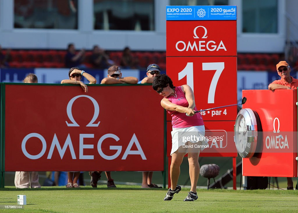 Becky Brewerton of Wales drives from the 17th tee during the final round of the 2012 Omega Dubai Ladies Masters on the Majilis Course at the Emirates Golf Club on December 8, 2012 in Dubai, United Arab Emirates.