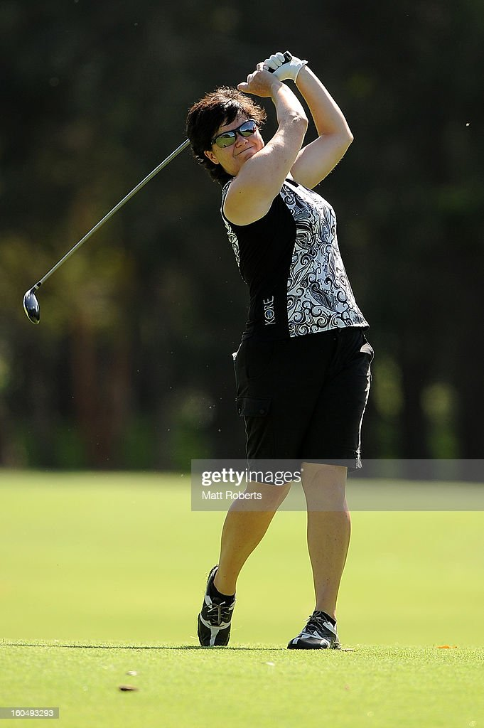 Becky Brewerton of Wales plays her shot on the 12th hole during the Australian Ladies Masters at Royal Pines Resort on February 2, 2013 on the Gold Coast, Australia.