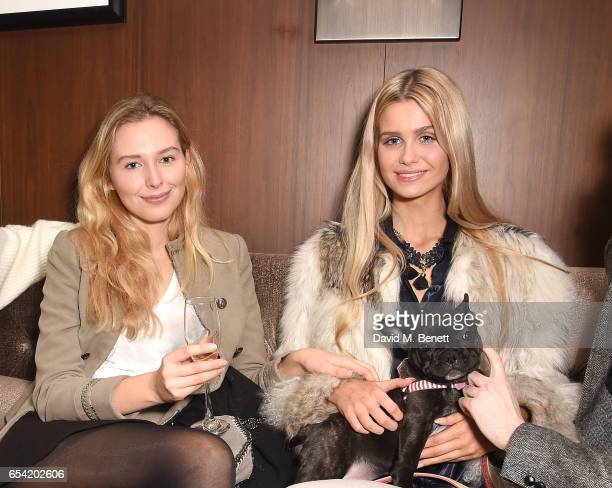 Becky DeJong and guest attend the ICONIC PR LND and PerrierJouët art presention of works by Picasso Miro Matisse Chagall at QP LDN on March 16 2017...