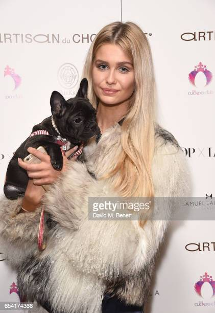 Becky DeJong attends the ICONIC PR LND and PerrierJouët art presention of works by Picasso Miro Matisse Chagall at QP LDN on March 16 2017 in London...