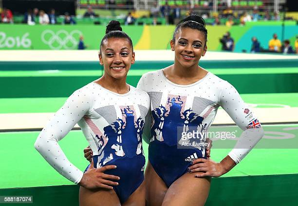 Becky Downie and Ellie Downie of Great Britain pose for a photo after the Artistic Gymnastics Women's Team Final on Day 4 of the Rio 2016 Olympic...