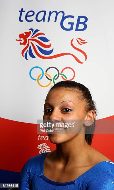 Becky Downie of Great Britain at the end of the British Gymnastics Championships ahead of the Bejiing Olympics at the Guildford Spectrum on June 29...