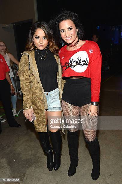 Becky G and Demi Lovato backstage at Y100's Jingle Ball 2015 at BBT Center on December 18 2015 in Sunrise Florida