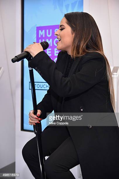 Becky G singer songwriter and actress performs at the launch party of The Museum of Feelings curated by Glade® at Brookfield Place on November 23...