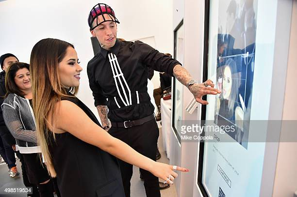 Becky G singer songwriter and actress took a break from hosting to create her 'MoodLens' at The Museum of Feelings launch party curated by Glade® at...