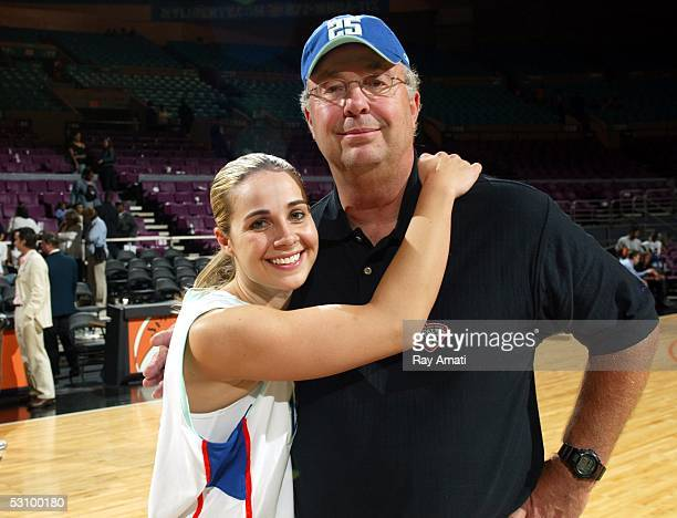 Becky Hammon of the New York Liberty and her dad Marty pose after a game against the Phoenix Mercury on June 18 2005 at Madison Square Garden in New...