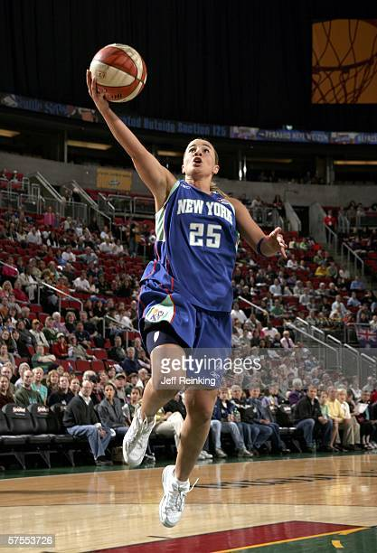 Becky Hammon of the New York Liberty shoots against the Seattle Storm during their WNBA preseason game on May 7 2006 at Key Arena in Seattle...
