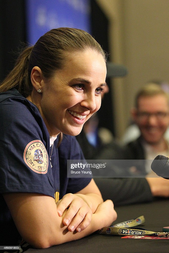Becky Hammon #25 of the San Antonio Silver Stars answers questions during NBA All Star Press Conferences and Media Availability as part of 2014 All-Star Weekend at the Hyatt Regency Hotel on February 14, 2014 in New Orleans, Louisiana.