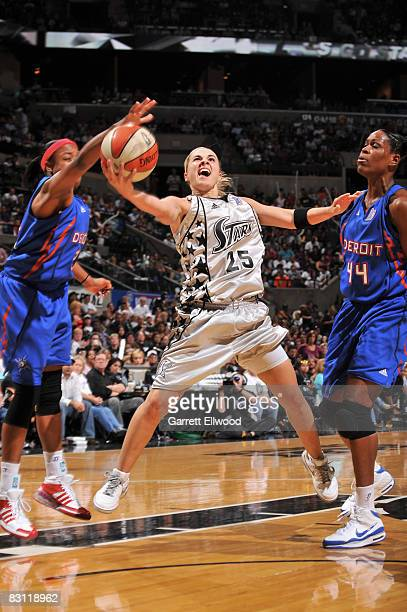 Becky Hammon of the San Antonio Silver Stars shoots against Taj McWilliamsFranklin of the Detroit Shock during Game Two of the WNBA Finals on October...