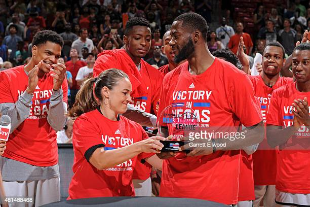 Becky Hammon of the San Antonio Spurs celebartes after winning the Las Vegas Summer League Championship on July 20 2015 at the Thomas Mack Center in...
