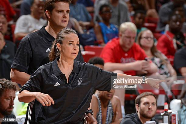 Becky Hammon of the San Antonio Spurs coaches against the Phoenix Suns during the Las Vegas Summer League Championship on July 20 2015 at the Thomas...