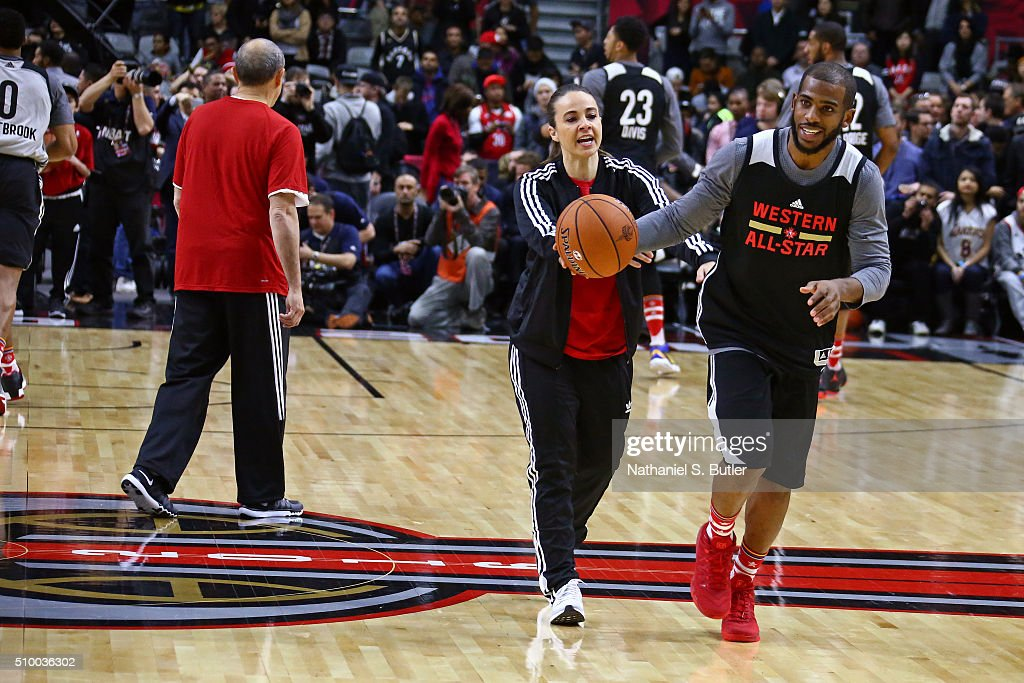 <a gi-track='captionPersonalityLinkClicked' href=/galleries/search?phrase=Becky+Hammon&family=editorial&specificpeople=203174 ng-click='$event.stopPropagation()'>Becky Hammon</a> of the San Antonio Spurs coaches <a gi-track='captionPersonalityLinkClicked' href=/galleries/search?phrase=Chris+Paul&family=editorial&specificpeople=212762 ng-click='$event.stopPropagation()'>Chris Paul</a> #3 of the Los Angeles Clippers during the NBA All-Star Practice as part of 2016 All-Star Weekend at the Ricoh Coliseum on February 13, 2016 in Toronto, Ontario, Canada.