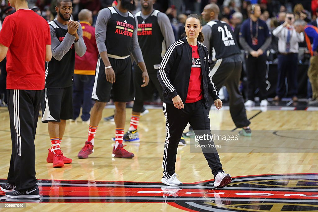 <a gi-track='captionPersonalityLinkClicked' href=/galleries/search?phrase=Becky+Hammon&family=editorial&specificpeople=203174 ng-click='$event.stopPropagation()'>Becky Hammon</a> of the San Antonio Spurs coaches during the NBA All-Star Practice as part of 2016 All-Star Weekend at the Ricoh Coliseum on February 13, 2016 in Toronto, Ontario, Canada.