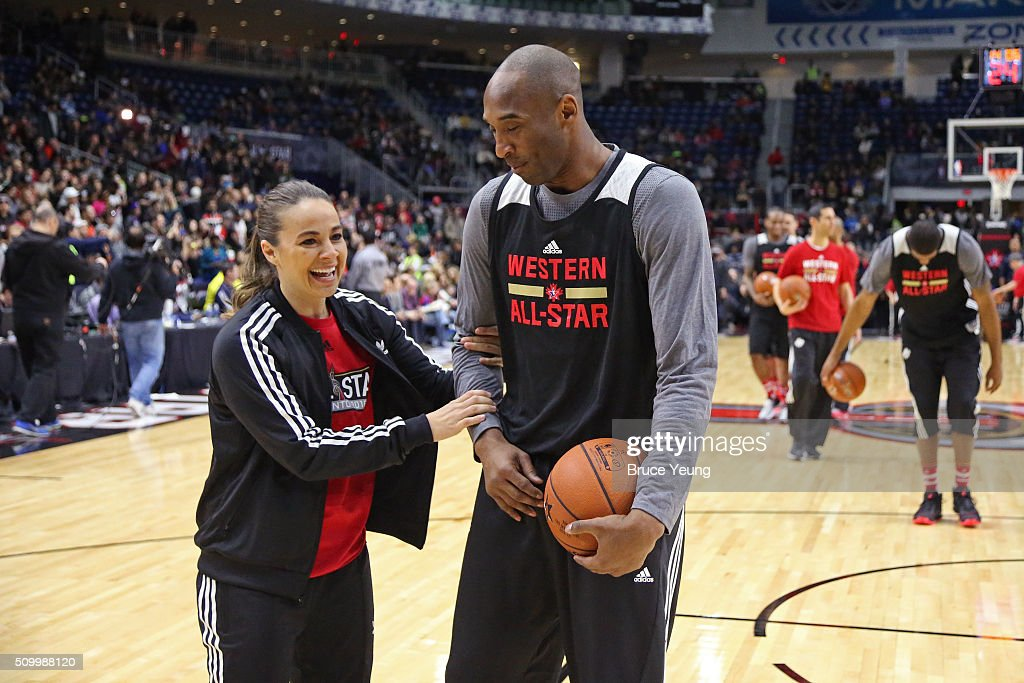 <a gi-track='captionPersonalityLinkClicked' href=/galleries/search?phrase=Becky+Hammon&family=editorial&specificpeople=203174 ng-click='$event.stopPropagation()'>Becky Hammon</a> of the San Antonio Spurs talks to <a gi-track='captionPersonalityLinkClicked' href=/galleries/search?phrase=Kobe+Bryant&family=editorial&specificpeople=201466 ng-click='$event.stopPropagation()'>Kobe Bryant</a> #24 of the Los Angeles Lakers during the NBA All-Star Practice as part of 2016 All-Star Weekend at the Ricoh Coliseum on February 13, 2016 in Toronto, Ontario, Canada.