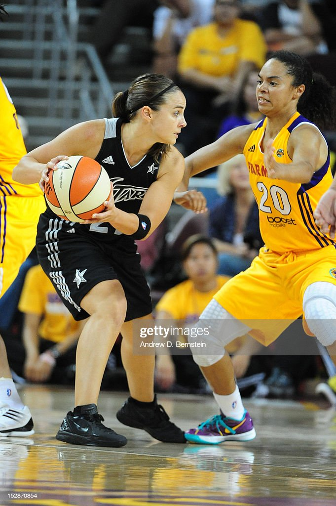 <a gi-track='captionPersonalityLinkClicked' href=/galleries/search?phrase=Becky+Hammon&family=editorial&specificpeople=203174 ng-click='$event.stopPropagation()'>Becky Hammon</a> #25 of the San Antonio Stars handles the ball during Game 1 of the WNBA Western Conference Semi Finals against the Los Angeles Sparks at Galen Center on September 27, 2012 in Los Angeles, California.