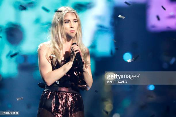 Becky Hill performs on stage during the Nobel Peace Prize Concert to honor the peace prize laureates ICAN in Fornebu Norway on December 11 2017 / AFP...