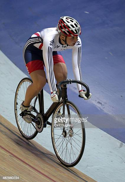 Becky James during the Great Britain Cycling Team media day at the National Cycling Centre in Manchester on August 3 2015 in Manchester England