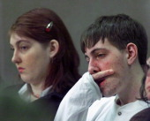 Becky Johnson left and Kienan Tulloch are seen at Superior Court in Haverhill NH as their brother Robert Tulloch is sentenced to life without parole...