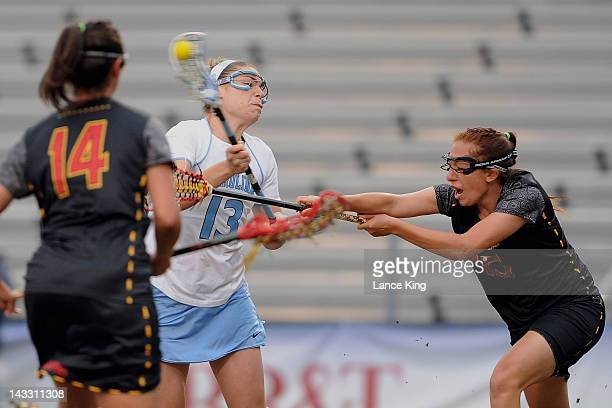 Becky Lynch of the North Carolina Tar Heels take a shot on goal against the Maryland Terrapins during the finals of the 2012 Women's ACC Tournament...