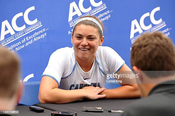 Becky Lynch of the North Carolina Tar Heels talks to the media following their win against the Virginia Cavaliers in the semifinals of the 2012...
