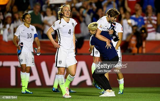 Becky Sauerbrunn of USA smiles after winning the FIFA Women's World Cup 2015 Quarter Final match between China and United States at Lansdowne Stadium...