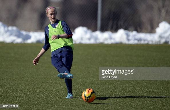 Becky Sauerbrunn with the USA women's soccer team practices April 3 2014 at the Colorado School of Mines as they prepare for their exhibition game...
