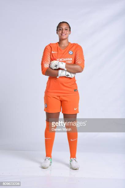 Becky Spencer of Chelsea Ladies during the Chelsea Ladies Nike Kit Shoot at Chelsea Training Ground on June 30 2017 in Cobham England