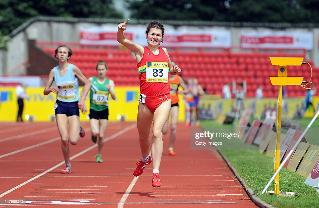 Becky Straw of West Midlands crosses the line to win the Senior Girls 1500 Metres during Day 2 of the Aviva English Schools Track & Field Championships at the Gateshead International Stadium on July 7 in Gateshead, England. Search Aviva Athletics on Facebook to Back the Team.