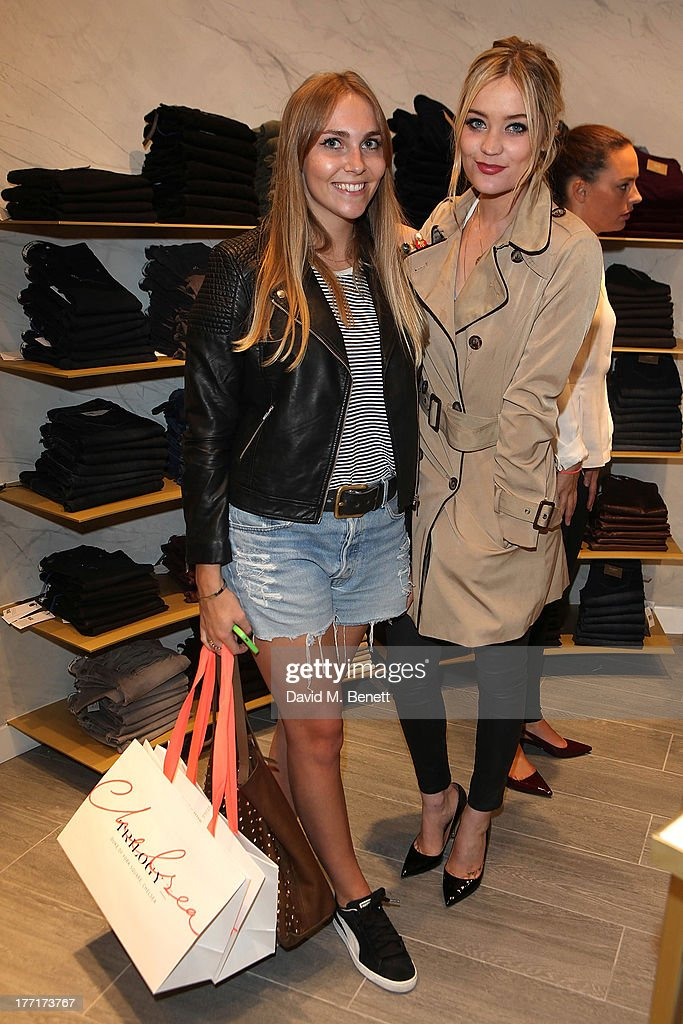 Becky Tong and <a gi-track='captionPersonalityLinkClicked' href=/galleries/search?phrase=Laura+Whitmore&family=editorial&specificpeople=5599316 ng-click='$event.stopPropagation()'>Laura Whitmore</a> attend the Trilogy flagship store launch party on August 21, 2013 in London, United Kingdom.