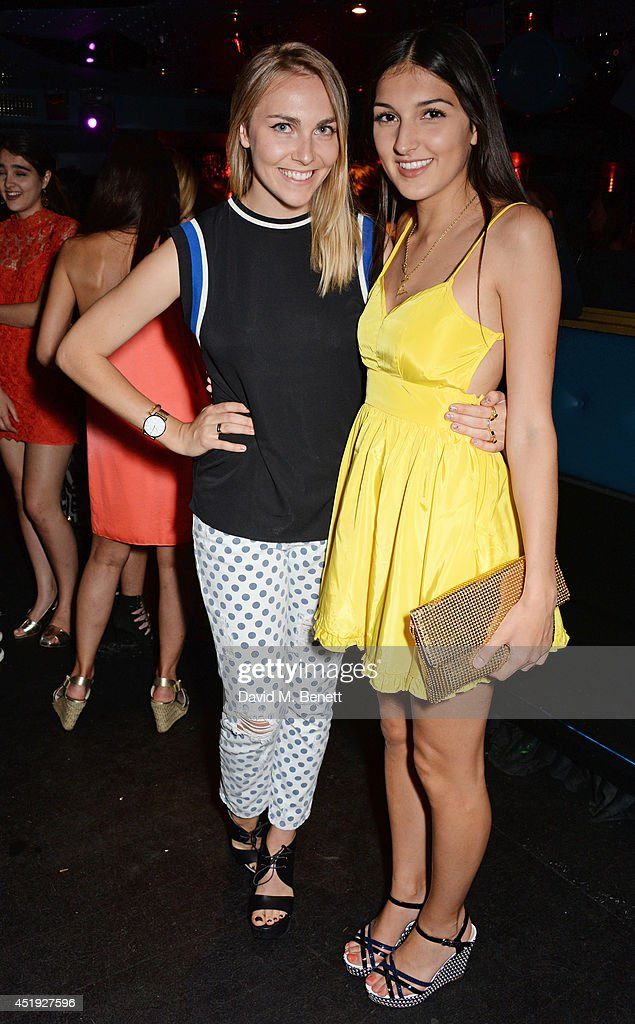 Becky Tong (L) and Laurie Mills attend Jo Wood and Yasmin Mill's Summer Party at Boujis on July 9, 2014 in London, England.