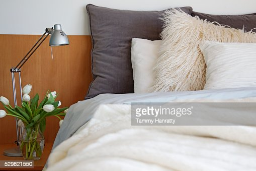 Bed and cushion : Stock-Foto