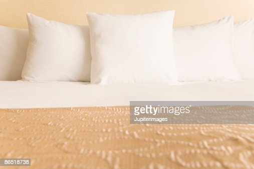 Bed and pillows : Stock Photo