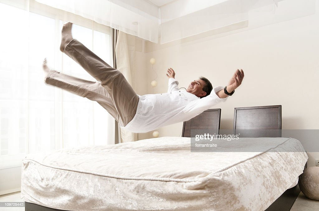 Bed Jump : Stock Photo