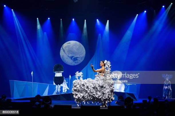 'Bed of Roses' by Ann Skelly of New Zealand is modelled in the Open Section during the World of WearableArt Preview 2017 at TSB Bank Arena on...
