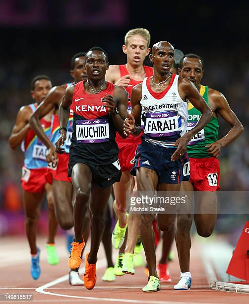 04 Bedan Karoki Muchiri of Kenya and Mohamed Farah of Great Britain compete in in Men's 10000m Final on Day 8 of the London 2012 Olympic Games at...